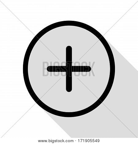 Positive symbol plus sign. Black icon with flat style shadow path.