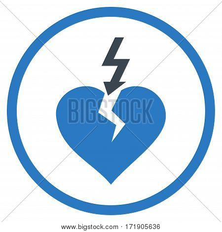 Break Heart rounded icon. Vector illustration style is flat iconic bicolor symbol inside circle, smooth blue colors, white background.