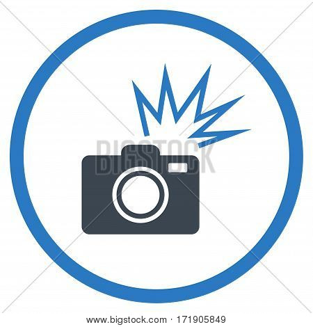 Camera Flash rounded icon. Vector illustration style is flat iconic bicolor symbol inside circle, smooth blue colors, white background.