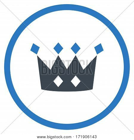 Crown rounded icon. Vector illustration style is flat iconic bicolor symbol inside circle, smooth blue colors, white background.