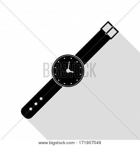 Watch sign illustration. Black icon with flat style shadow path.