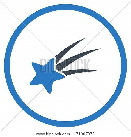 Falling Star rounded icon. Vector illustration style is flat iconic bicolor symbol inside circle, smooth blue colors, white background.