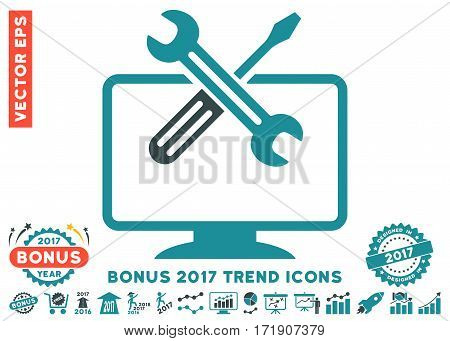 Soft Blue Computer Tools pictograph with bonus 2017 trend pictograph collection. Vector illustration style is flat iconic bicolor symbols white background.