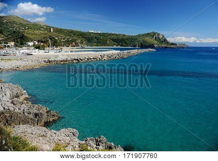 Coast of Tyrrhenian sea. Beach and port of Marina di Camerota, Italy