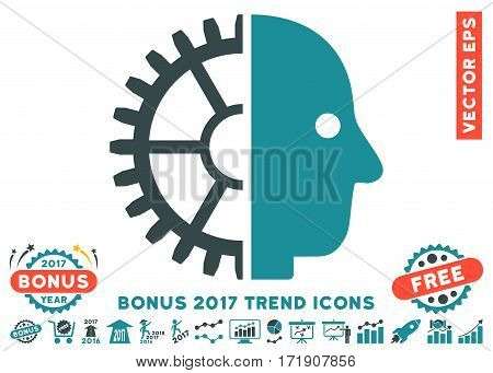 Soft Blue Cyborg Head pictograph with bonus 2017 trend pictures. Vector illustration style is flat iconic bicolor symbols white background.