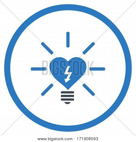 Heart Electric Bulb rounded icon. Vector illustration style is flat iconic bicolor symbol inside circle, smooth blue colors, white background.
