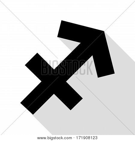 Sagittarius sign illustration. Black icon with flat style shadow path.
