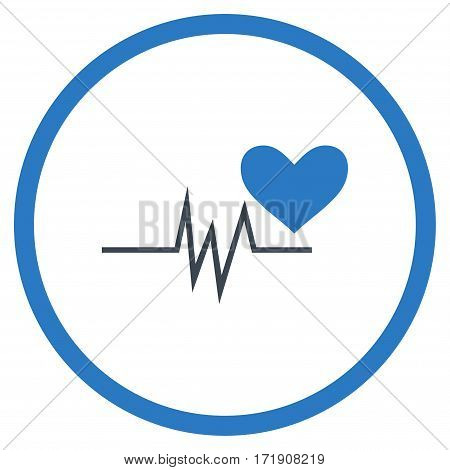 Heart Pulse Signal rounded icon. Vector illustration style is flat iconic bicolor symbol inside circle, smooth blue colors, white background.