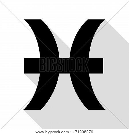 Pisces sign illustration. Black icon with flat style shadow path.