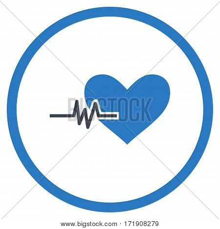 Heart Pulse rounded icon. Vector illustration style is flat iconic bicolor symbol inside circle, smooth blue colors, white background.