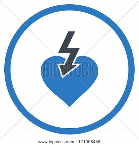 Heart Shock Strike rounded icon. Vector illustration style is flat iconic bicolor symbol inside circle, smooth blue colors, white background.