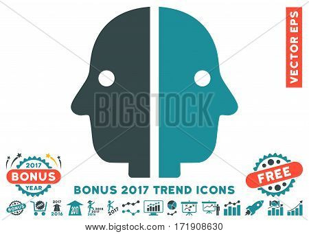 Soft Blue Dual Face icon with bonus 2017 trend pictograph collection. Vector illustration style is flat iconic bicolor symbols white background.