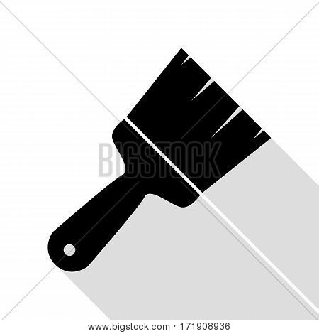 Brush sign illustration. Black icon with flat style shadow path.
