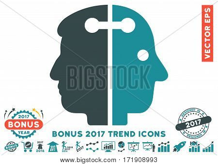 Soft Blue Dual Head Connection pictogram with bonus 2017 year trend symbols. Vector illustration style is flat iconic bicolor symbols white background.