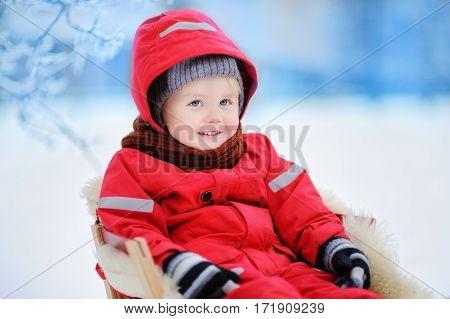 Little Boy Enjoying A Sleigh Ride. Child Sledding. Toddler Kid Riding A Sledge
