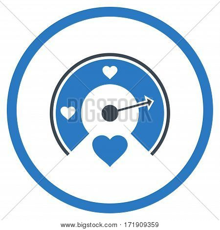 Love Gauge rounded icon. Vector illustration style is flat iconic bicolor symbol inside circle, smooth blue colors, white background.