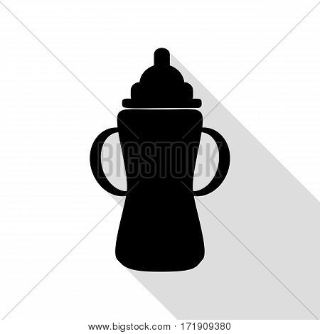 Baby bottle sign. Black icon with flat style shadow path.