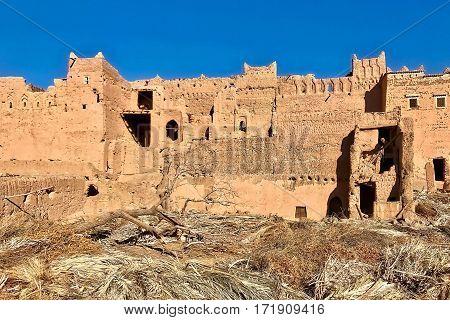 N'Kob, Morocco, February 7, 2017: Mud buildings fall into disrepair at N'Kob in Morocco.