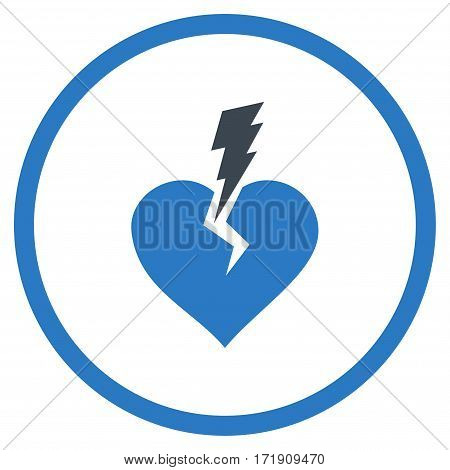 Love Heart Crash rounded icon. Vector illustration style is flat iconic bicolor symbol inside circle, smooth blue colors, white background.