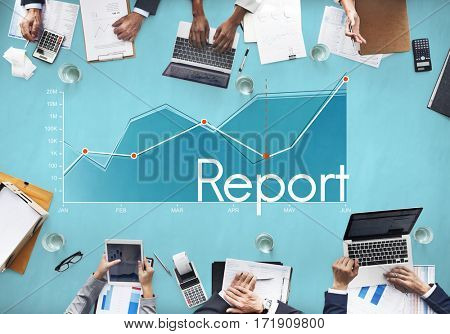 Corporate business line graph report