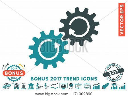 Soft Blue Gear Mechanism Rotation pictograph with bonus 2017 trend icon set. Vector illustration style is flat iconic bicolor symbols white background.