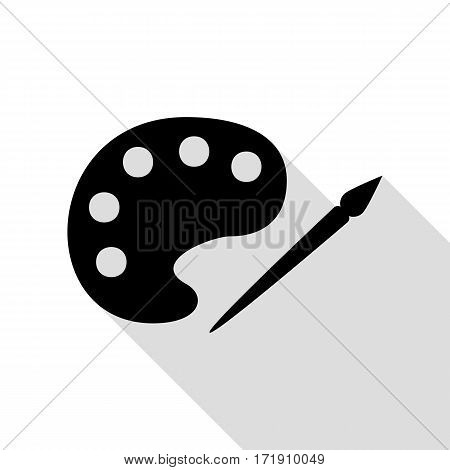 Palette and paint brush sign. Black icon with flat style shadow path.