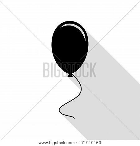 Balloon sign illustration. Black icon with flat style shadow path.