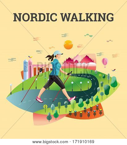 Vector illustrated card with Nordic Walking. The flat illustration of woman hiking in summer city.