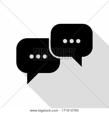 Speech bubbles sign. Black icon with flat style shadow path.
