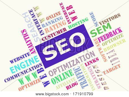 The word cloud of SEO - Search Engine Optimization