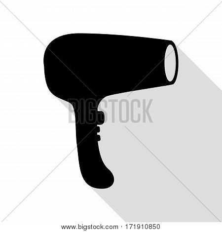 Hair Dryer sign. Black icon with flat style shadow path.