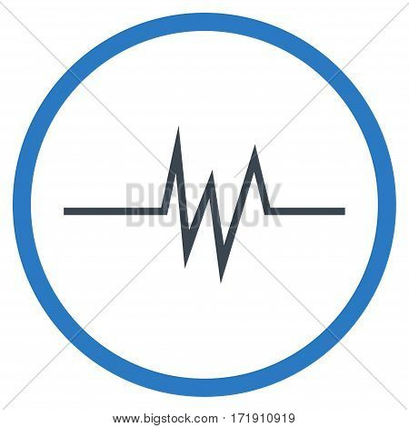 Pulse Signal rounded icon. Vector illustration style is flat iconic bicolor symbol inside circle, smooth blue colors, white background.