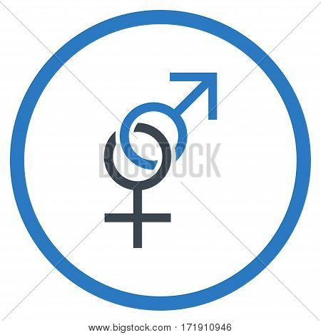 Sex Symbol rounded icon. Vector illustration style is flat iconic bicolor symbol inside circle, smooth blue colors, white background.
