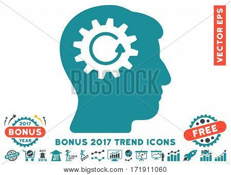 Soft Blue Head Gear Rotation pictograph with bonus 2017 year trend pictograms. Vector illustration style is flat iconic bicolor symbols white background.