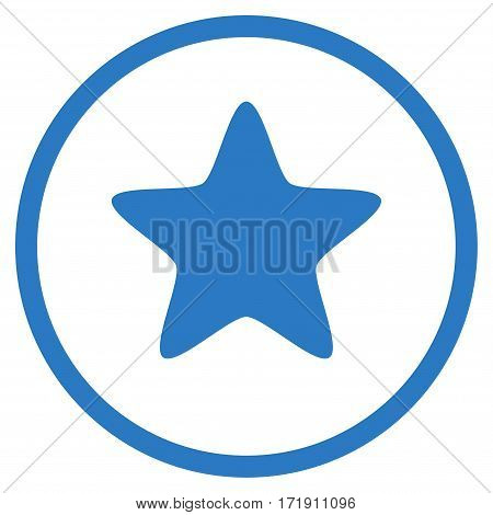 Star rounded icon. Vector illustration style is flat iconic bicolor symbol inside circle, smooth blue colors, white background.