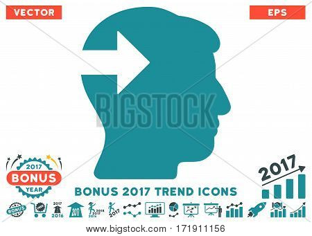Soft Blue Head Plug-In Arrow icon with bonus 2017 trend pictures. Vector illustration style is flat iconic bicolor symbols white background.