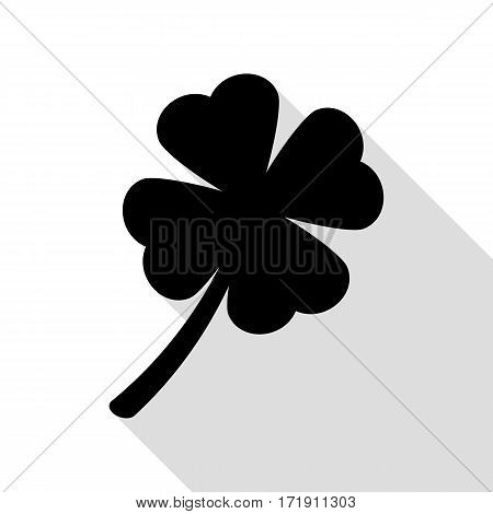 Leaf clover sign. Black icon with flat style shadow path.