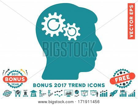 Soft Blue Head Wheels Rotation pictogram with bonus 2017 trend pictograph collection. Vector illustration style is flat iconic bicolor symbols white background.