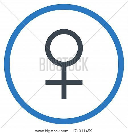 Venus Female Symbol rounded icon. Vector illustration style is flat iconic bicolor symbol inside circle, smooth blue colors, white background.