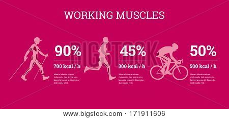 Vector illustrated infographics banners with sport information. The flat illustration of comparative data of sport loads.