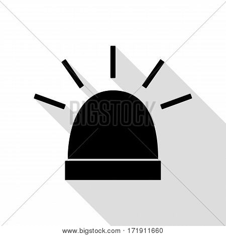 Police single sign. Black icon with flat style shadow path.