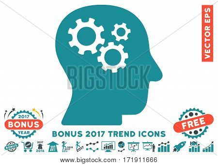 Soft Blue Intellect Gears icon with bonus 2017 trend icon set. Vector illustration style is flat iconic bicolor symbols white background.