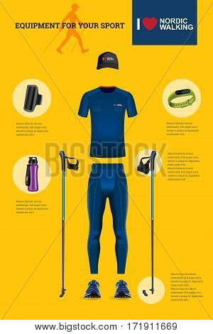 Vector illustration of set with Nordic Walking equipment. Realistic illustration of summer sport accessories and clothes for men.