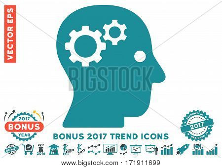 Soft Blue Intellect Gears pictogram with bonus 2017 year trend pictograph collection. Vector illustration style is flat iconic bicolor symbols white background.