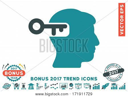 Soft Blue Intellect Key pictograph with bonus 2017 trend icon set. Vector illustration style is flat iconic bicolor symbols white background.