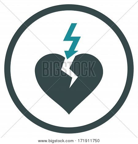 Break Heart rounded icon. Vector illustration style is flat iconic bicolor symbol inside circle, soft blue colors, white background.