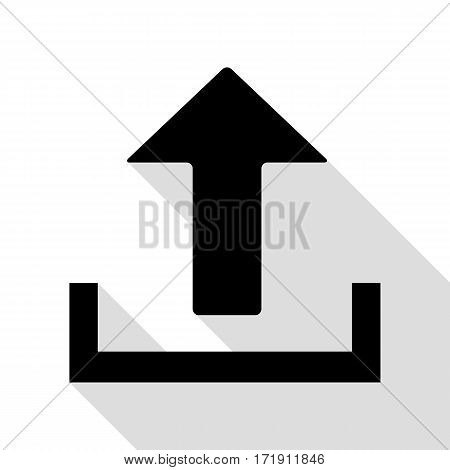 Upload sign illustration. Black icon with flat style shadow path.