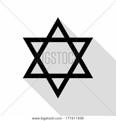Shield Magen David Star. Symbol of Israel. Black icon with flat style shadow path.