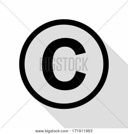 Copyright sign illustration. Black icon with flat style shadow path.