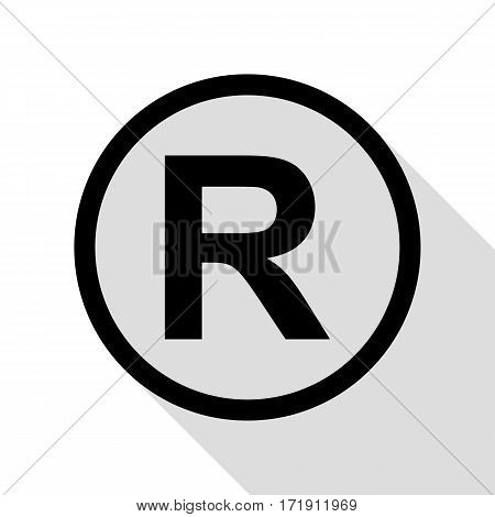 Registered Trademark sign. Black icon with flat style shadow path.